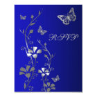Blue, Silver Floral with Butterflies Reply Card 2