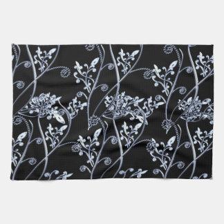 Blue Silver Flower Vines On Black Tea Towel
