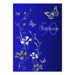 Blue, Silver Flowers & Butterflies 50th Birthday Custom Invite