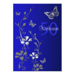 Blue, Silver Flowers & Butterflies 50th Birthday Custom Invite