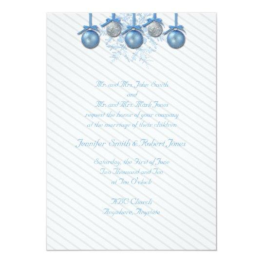 Blue Silver Glitter Ornaments Wedding Invitation