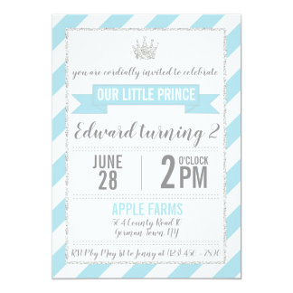 Blue Silver Glitter Prince Birthday Invitation
