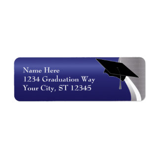 Blue & Silver Graduation Address Label