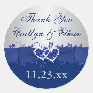 Blue, Silver Gray Floral Wedding Favor Sticker