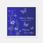 Blue, Silver Grey Butterfly Floral Paper Napkins Disposable Napkin