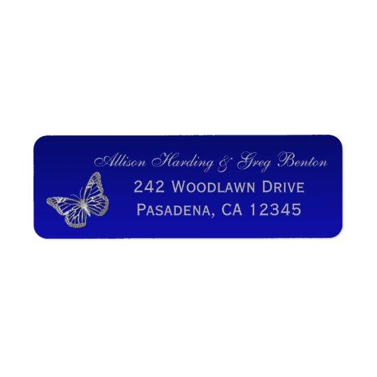 Blue, Silver Grey Butterfly Return Address Label
