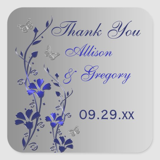 Blue, Silver Grey Floral with Butterflies Sticker