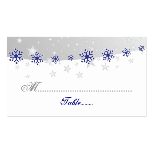 blue silver grey snowflake wedding place card pack of. Black Bedroom Furniture Sets. Home Design Ideas