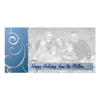 Blue & Silver Holiday Swirls Photo Cards