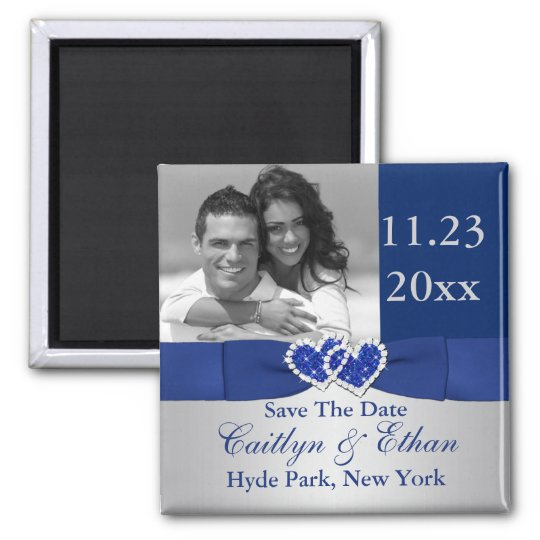 Blue, Silver Joined Hearts Save the Date Magnet