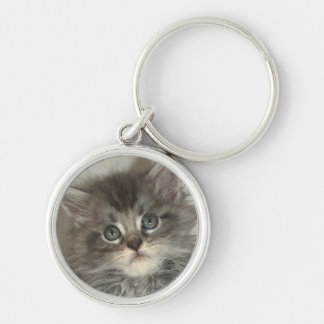 Blue silver kitten key ring Silver-Colored round key ring