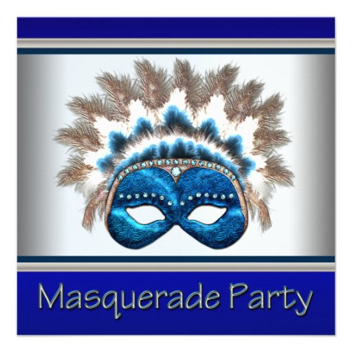 Blue Silver Mask Masquerade Party Personalized Announcements