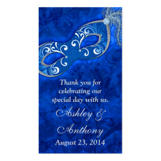 Blue Silver Masquerade Ball Wedding Favour Tags Business Cards