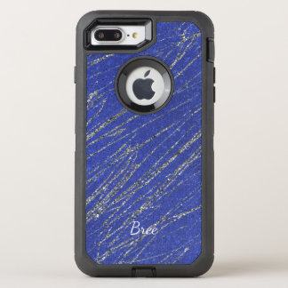 Blue & Silver Modern Glam Marble Stripe Custom OtterBox Defender iPhone 8 Plus/7 Plus Case