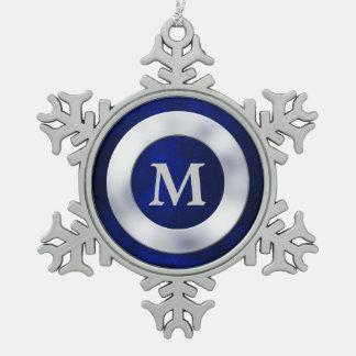 Blue Silver Monogram Christmas Snowflake Pewter Christmas Ornament
