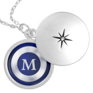 Blue Silver Monogram Necklace