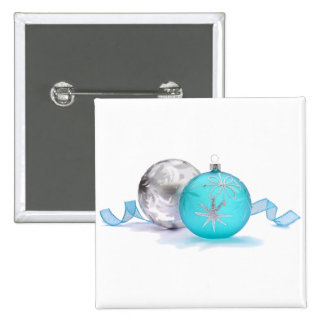 BLUE & SILVER ORNAMENTS by SHARON SHARPE Pinback Buttons