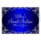 Blue Silver Pearl Damask Sweet 16 Thank You Card