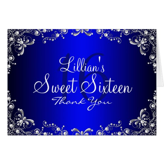 Blue Silver Pearl Damask Sweet 16 Thank You
