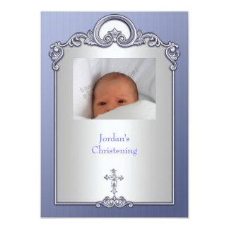 Blue Silver Photo Frame Jewel Cross Christening 13 Cm X 18 Cm Invitation Card