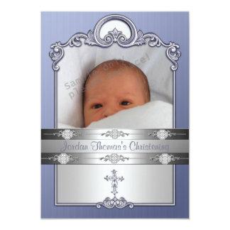 Blue Silver Photo Frame Jewel Cross Christening Card