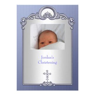 Blue Silver Photo Frame Jewel Cross Christening Invites