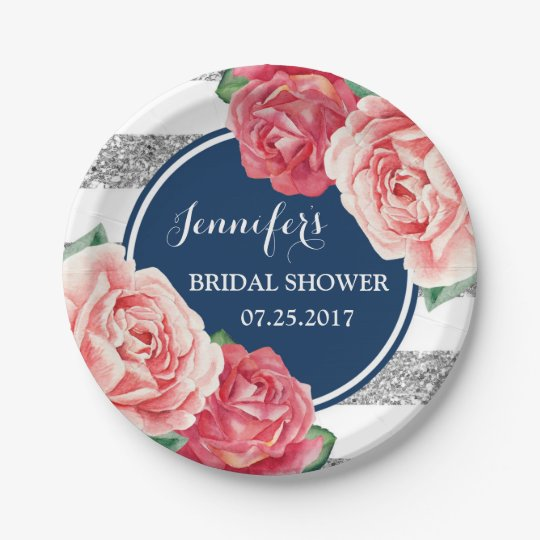 Blue Silver Pink Flowers Bridal Shower Plate