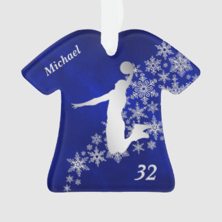Blue Silver Snowflake Basketball Player Ornament