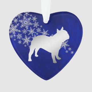 Blue Silver Snowflake French Bulldog Ornament