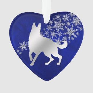 Blue Silver Snowflake German Shepherd Ornament