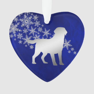 Blue Silver Snowflake Labrador Retriever Ornament