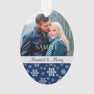 Blue Silver Snowflake Married & Merry Christmas Ornament