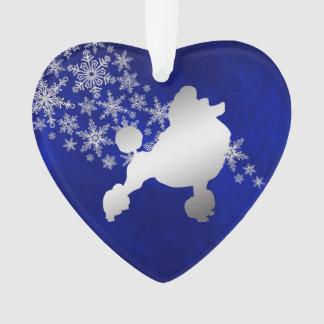 Blue Silver Snowflake Poodle Ornament