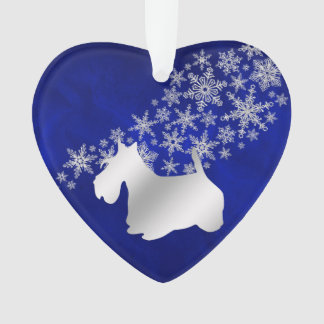 Blue Silver Snowflake Scottie Dog Ornament