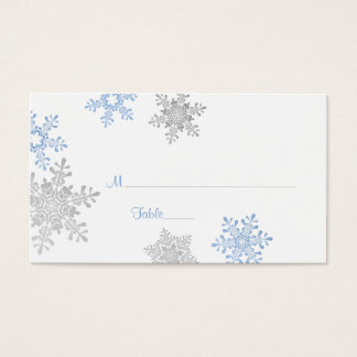 Blue Silver Snowflake Winter Wedding Place Cards