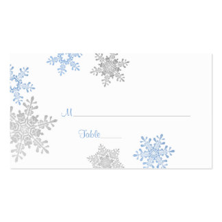 Blue Silver Snowflake Winter Wedding Place Cards Pack Of Standard Business Cards