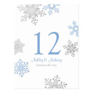 Blue Silver Snowflake Winter Wedding Table Card Postcard