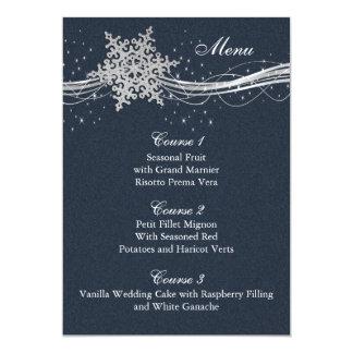 Blue Silver Snowflakes Winter wedding menu cards