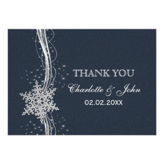 Blue Silver Snowflakes Winter wedding Thank You Card