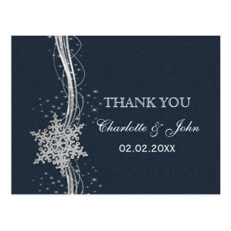 Blue Silver Snowflakes Winter wedding Thank You Post Cards