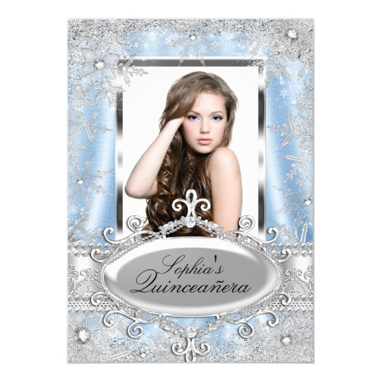 Blue Silver Sparkle Jewel Snowflake Quinceanera Card