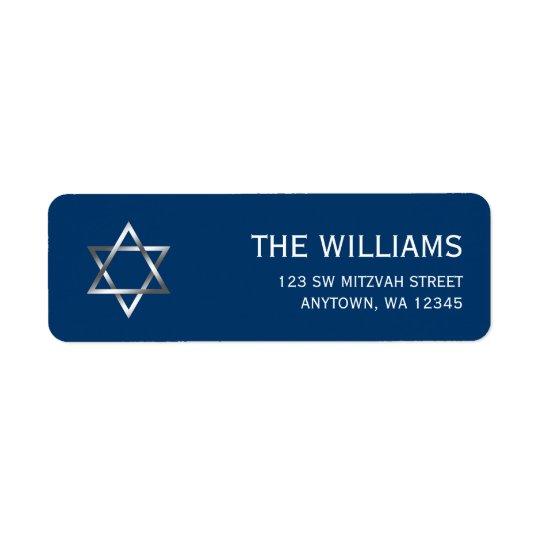 Blue Silver Star of David Bar Mitzvah Return Address Label