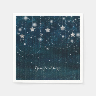 Blue & Silver Starry Celestial Whimsical Party Disposable Napkin