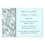 Blue silver swirl engagement anniversary CUSTOM 13 Cm X 18 Cm Invitation Card
