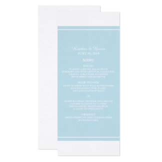 Blue Simply Elegant Wedding Menu Card