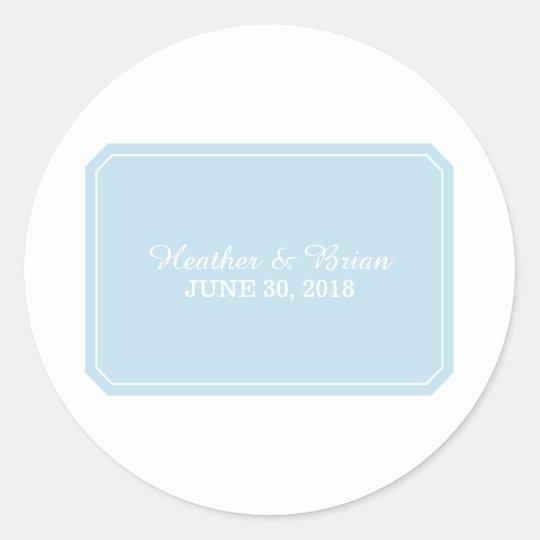 Blue Simply Elegant Wedding Stickers