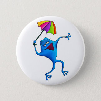 Blue Singing Frog with Umbrella 6 Cm Round Badge