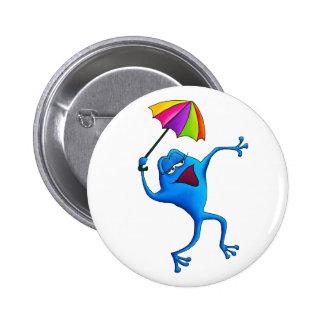 Blue Singing Frog with Umbrella 6 Cm Round Badge