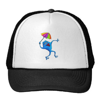 Blue Singing Frog with Umbrella Mesh Hat
