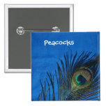 Blue Single Peacock Feather 15 Cm Square Badge